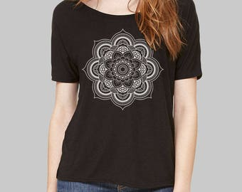 Scoop Neck Tee Mandala Mandala Shirt slouchy tee dolman top slouchy shirt dolman sleeve top womens tops tshirt scoop neck