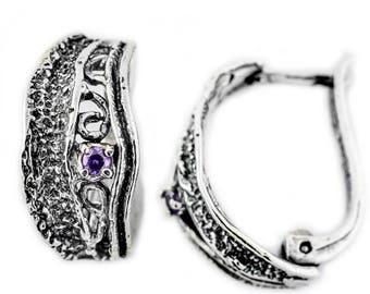 Sterling Silver Earrings, Purple CZ Earrings,  Silver Jewelry, handmade
