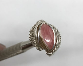 Rhodochrosite Ring - love ring - love - size 7.5 - crystal jewelry - pink