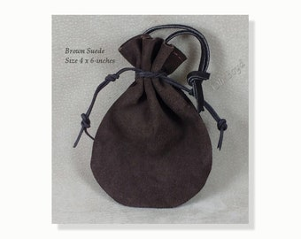 Brown Suede Pouch, Size 4 x 6-inches, Old Fashioned Quality Drawstring Pouch,Heavy Duty Suede Bag for Storing, Collecting, Special Presents