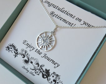 Retirement Gifts for Women, Graduation Gift for Her, Sterling Silver Compass Necklace, Retirement Jewelry, Graduation gift, marciahdesigns