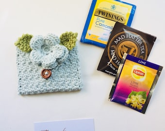 Crocheted Tea Travel Purse / Tea Purse / Tea bag Holder - in Organic Pure Cotton - Duck Egg Blue