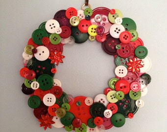 Vibrant Holiday Button Wreath