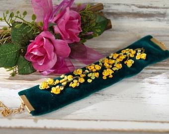 Bracelet, cuff, velvet bracelet with embroidery, gifts for women, romantic bracelet, gift for girlfriend-Bracelet