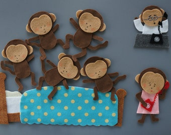 Five Little Monkeys Felt Set (jumping on BED & hanging on TREES // Felt Stories // Flannel Board Story // Felt Crafts // Preschool stories