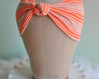 Orange and Oatmeal Striped Turban Hat or Turban/Knotted Headband