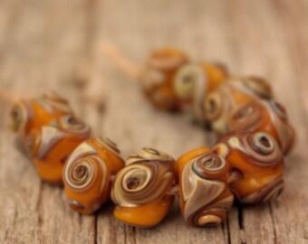 Mini Swirlies #5- 10 lampwork beads
