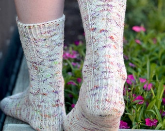 Textured Lace Knit Socks Pattern - Secret Garden SOCKS Knitting Pattern PDF - Digital Download