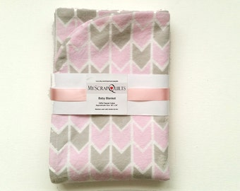 Flannel Baby blanket - Receiving Blanket - Swaddle Blanket - Baby Girl Blanket