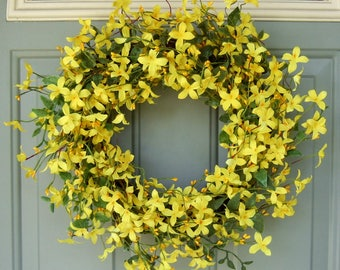 Spring Wreath - Spring Forsythia Wreath - Spring Door Wreath