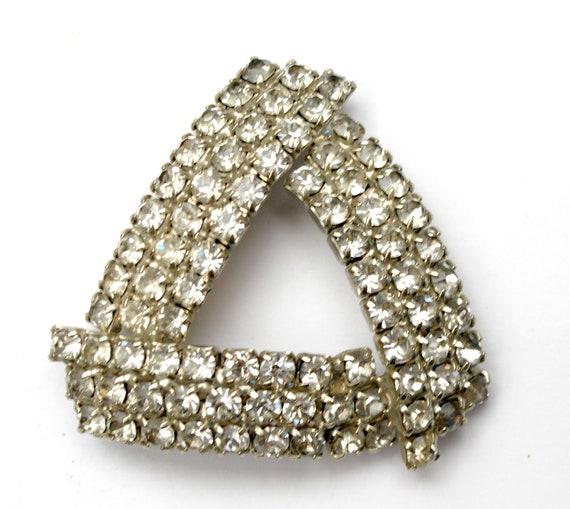 Rhinestone triangle  Brooch  -  Clear Ice - Silver  - domed  atomic pin - wedding bride