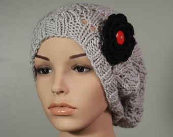 Super Slouchy Hat with or without Flower - Light Gray - Handknit Cap - Women's - Black Flower - Interchangeable