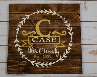 Personalized Last Name Sign - Wood Name Sign - Custom Wood Name Sign - Family Sign - Rustic Family Sign - Wedding Gift - Housewarming Gift
