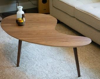 Mid Century Modern Coffee Table Kidney Bean - Walnut, Extra Large  (Kidney Bean Coffee Table, Boomerang Coffee Table, Mid Century Modern)