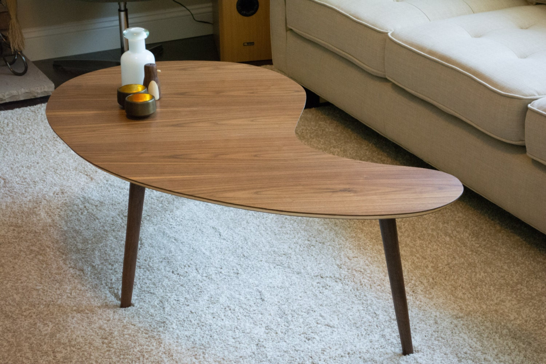 Mid Century Modern Coffee Table Kidney Bean Walnut Extra