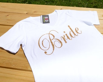 Bride, bride shirt, bride top, bride top, bridal shower, bride to be, bachelorette, wedding, wedding party, bride gift, v-neck, glitter