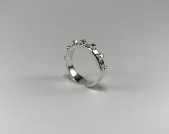 Sterling Silver Modern Organic Granule Taper Ring