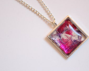 Pink and Purple, Swirl Patterned Necklace, Pendant, Silver Plated