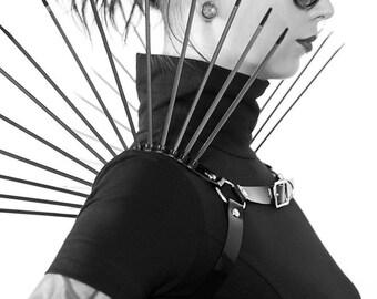 REPLICANT CHEST HARNESS - Black Pvc Harness - Spiked Cyberpunk Chest Harness - Plastic Fashion - Futuristic - Goth - Zip Ties
