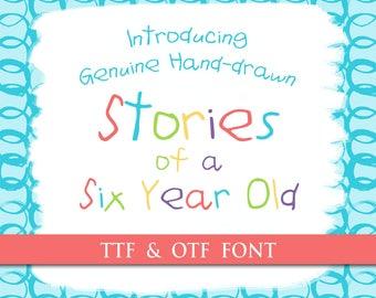 Child Handwritten Font - Genuine Handwriting Stories of a Six Year Old Digital Typeface OTF TTF Hand Drawn Kids Font Childrens Craft Letter
