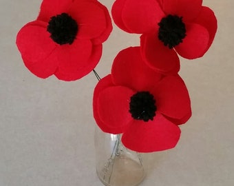 Felt Red Poppies on Stems Floral Arrangement