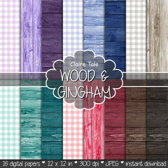 """Gingham and wood paper: """"WOOD & GINGHAM"""" gingham paper, wood paper with red, blue, purple, green, brown, black wood background and gingham"""