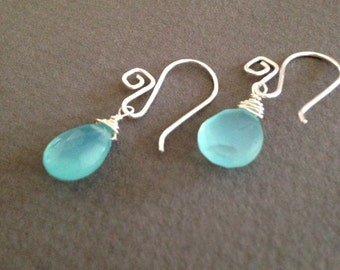 Simple aqua chalcedony briolette earrings, chalcedony briolettes, aqua earrings, turquoise earrings