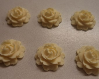 15mm round flatback rose cabochons ivory color 6 pc lot l X N