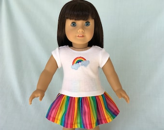 Rainbow T-Shirt and Skirt for American Girl/18 Inch Doll