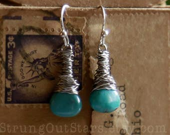 Strung-Out guitar string earrings with turquoise