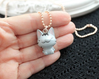 Kawaii tabby cat simple necklace cute lolita girl kitten kitteh kitty retro pink gold chain