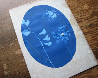 Greeting cards | handmade | blank | botanical card | all occasions | bee | flower