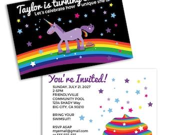 Invitation fête Licorne! (10 cartes)