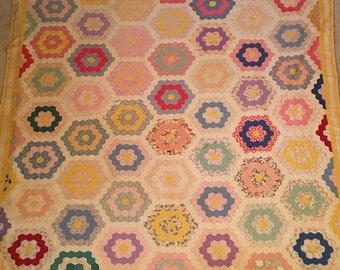 Grandmother's flower garden quilt (antique)