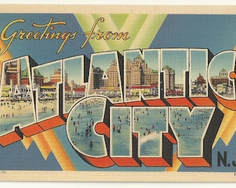 """1940s Linen Postcard- Large Letters: """"Greetings From Atlantic City, N.J."""" , Atlantic City, Atlantic County, New Jersey ~ Free Shipping"""