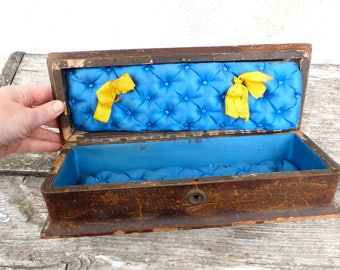 Vintage Antique 1890 /1900s French Victorian brown leather gloves box/ lined with blue silk padded
