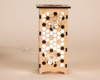 Wood Bumblebee Silhouette Laser Cut Lantern, Beekeeper Honey Gift Honeycomb Lamp, Housewarming Gift for Her Wedding, Nursery Bedroom Decor