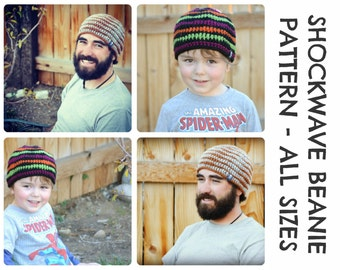 CROCHET HAT PATTERNS Shockwave Beanie - Baby, Child, & Adult Sizes