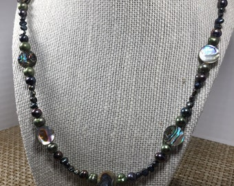 Colored Freshwater Pearl and Paua Shell Beaded Necklace