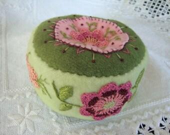 Spring Green and Pinks pincushion