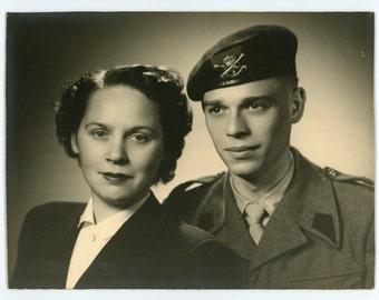 Handsome soldier and spouse- original 50s vintage photograph- couple- studio portrait- paper ephemera