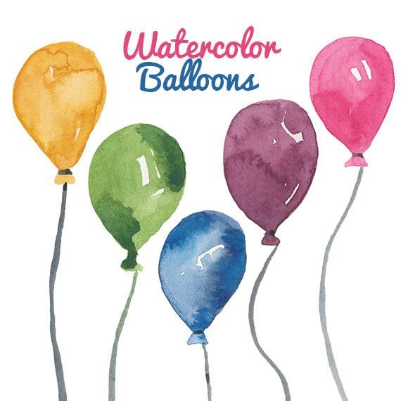 Watercolor Balloon clipart birthday party clip art Balloons