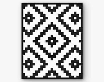 Ikat Print, Tribal Print, Ikat Pattern, Aztec Print, Tribal Art, Aztec Pattern, Tribal Pattern, Ikat Motif, Ikat Art, Monochrome Print