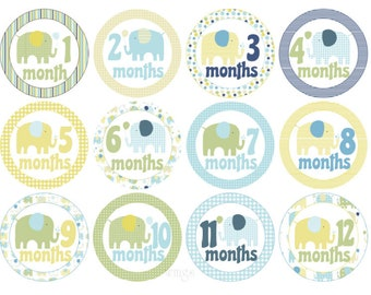 Baby Month Stickers Monthly Stickers Baby Boy Stickers Milestone Stickers Baby Monthly Stickers Boy Month Stickers Boy Elephants