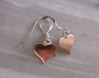 Rose Gold Vermeil Heart Drop Earrings