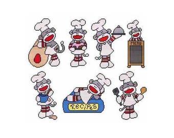Chef Sock Monkey Combo Counted Cross Stitch PDF Pattern