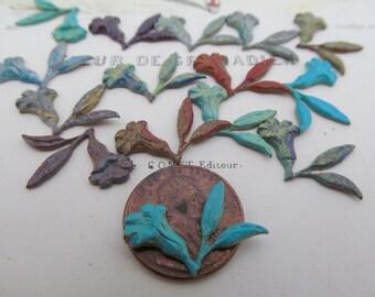 12 Little Vintage Brass Rainbow Colored Flowers