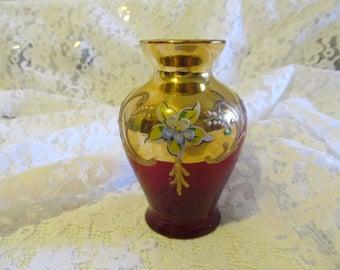 Vintage Italian Murano Venice Gold Hand Painted Bud/Flower Vase