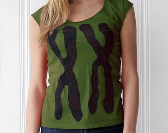 Womens XX shirt - Chromosomes, teen girl gift for women - green yoga clothing - nurse gift for her - funny tshirt, graphic tee