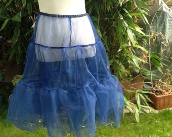 Vintage Inspired Navy Blue Tiered Net petticoat - Quality Handmade Vintage Inspired Clothes by Petticoat Jane